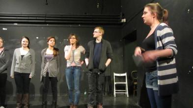 Lauren teaches the gang how to line-dance